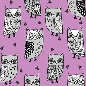 owl // owl fabric owl purple hand-drawn illustration owls bird birds fabric owls andrea lauren fabric andrea lauren design