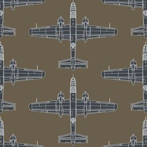 B-25 Mitchell Sea Blue on Olive Drab - Large