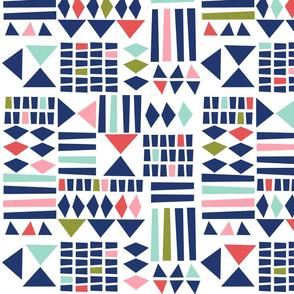 Block Print Geometric - White/multi