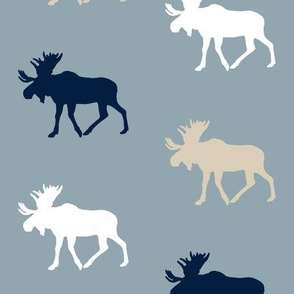 multi moose on blue    the rustic woods collection