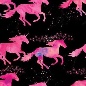 watercolor unicorns || black