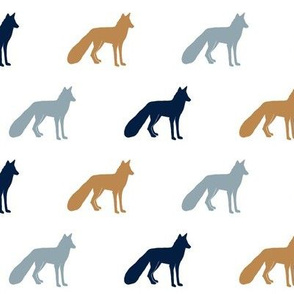 multi colored foxes    navy, blue, burnt orange
