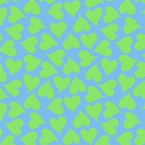 Lime green love hearts on sky blue