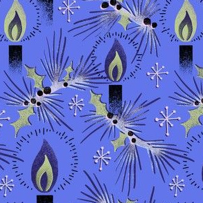 Vintage Christmas Candles - Blue