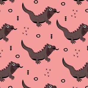 Little fantasy dragon and lizard illustration cool design for kids pink