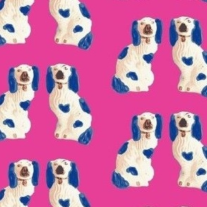 Blue and White Staffordshire Pups on Hot Pink