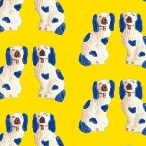 Blue and White Staffordshire Pups on Sunshine Yellow