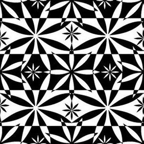 Flowers Checkered Pattern BW
