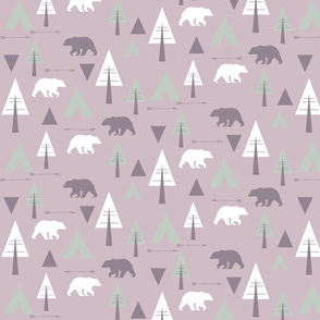 bear camp // lavender & mint on lilac
