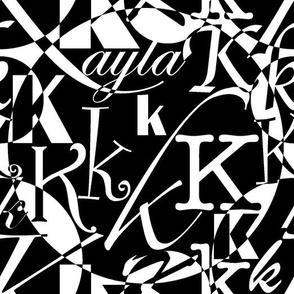 K is for Kayla polkadot BW