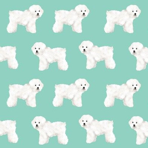 bichon frise dog print mint dog cute dog breed dog breed fabric