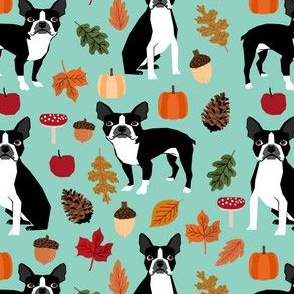 boston terrier mint autumn dog fall pinecones acorns autumn leaves mint dog breed fabric