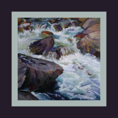 River Cascades, an original oil painting, river, turbulent water, rocks, wall art, stretch and frame