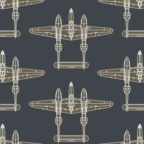 P-38 Olive Drab on Sea Blue - Large