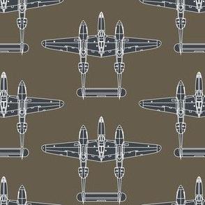 P-38 Sea Blue on Olive Drab - Large