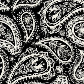monochrome paisley