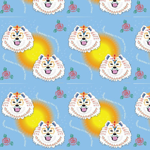 Samoyed Coloring Gift Wrap Birthday  Blue