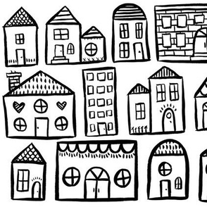 Black and White Houses - Smaller Scale