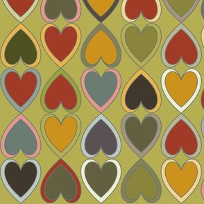 October - Double Hearts on Green