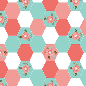 girls wholecloth quilt top cute girls hexagon cheater quilt cheater blanket girls floral flowers cute nursery baby hexies girls coral mint pink cheater
