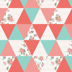girls wholecloth quilt top cute girls triangle cheater quilt cute coral mint and pink triangle quilt for girls