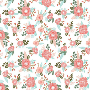 florals blooms sprigs bloom blossoms painted flower floral fabric coral blush mint cute girls room fabrics girls room quilt