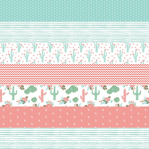 """wholecloth cactus blooms cheater quilt stripes 6"""" stripes girls room wholecloth cheater blanket crib blanket baby nursery cheater crib sheet"""