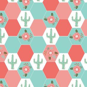 hexagon cheater quilt cactus blanket cactus quilt cute hexies patchwork blanket cheater hexagon blanket coral mint blush cactus florals