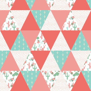 triangles cheater quilt florals cactus blooms coral mint and blush pink girls cheater quilt blankie crib sheet