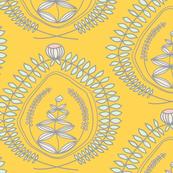 Blumenkranz auf gelb