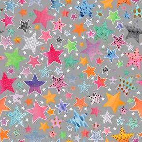Little Patchwork Stars - grey