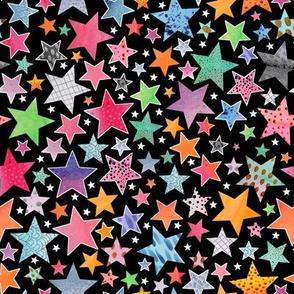 Little Patchwork Stars - black