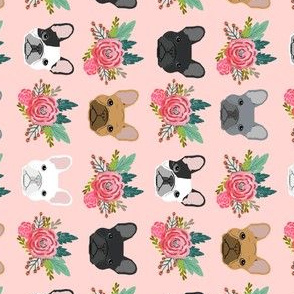 french bulldog flowers railroad girls sweet pink floral dog fabric