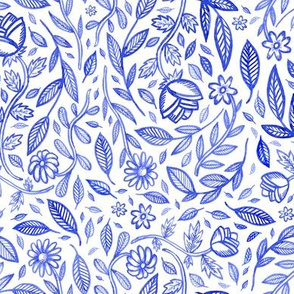 Blue leaves and flowers
