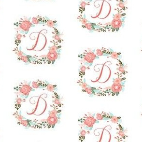 d monogram girls florals floral wreath cute blooms coral pink girls small monogram fabric sweet girls design