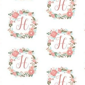 h monogram girls florals floral wreath cute blooms coral pink girls small monogram fabric sweet girls design