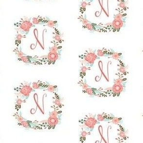 n monogram girls florals floral wreath cute blooms coral pink girls small monogram fabric sweet girls design