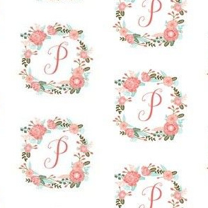 p monogram girls florals floral wreath cute blooms coral pink girls small monogram fabric sweet girls design