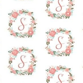 s monogram girls florals floral wreath cute blooms coral pink girls small monogram fabric sweet girls design