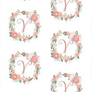 v monogram girls florals floral wreath cute blooms coral pink girls small monogram fabric sweet girls design