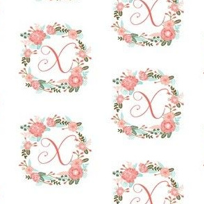 x monogram girls florals floral wreath cute blooms coral pink girls small monogram fabric sweet girls design