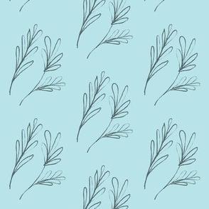 Leafy Twiglets on Wintry Blue