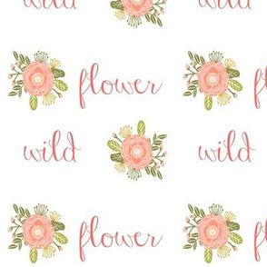 wild flower girls cheater quilt girls coral blush words wildflowers