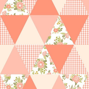 triangle cheater quilt girls gingham blush coral floral wholecloth quilt top baby blanket girls quilt