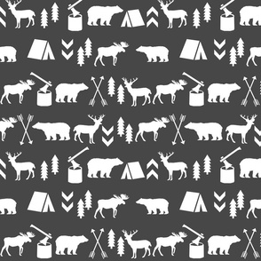 charcoal baby outdoors woodland forest bear moose fabric baby boy nursery baby nursery fabric