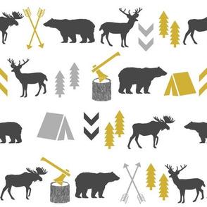 outdoors cabin deer arrows bear moose grey and mustard nursery fabric baby fabric