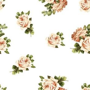 Vintage Tea Roses in White