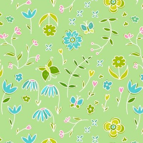 dainty flowers - spring green