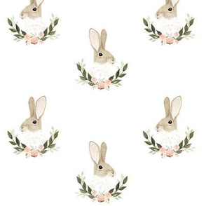 Whimsical rabbit on plain white