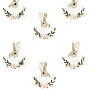 Whimsical rabbit on plain white